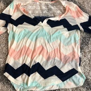 Tops - Beautiful chevron top with lace detail on back